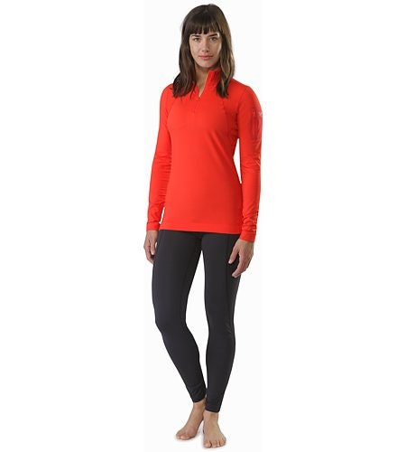 Rho LT Zip Neck Damen Hard Coral Vorderansicht