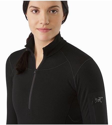 Satoro SV Zip Neck LS Women's Black Open Collar 2