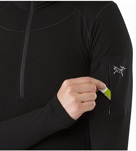 Satoro SV Zip Neck LS Women's Black Sleeve Pocket 2