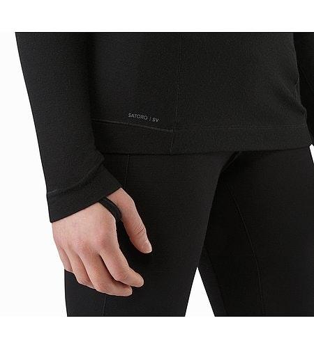 Satoro SV Zip Neck LS Women's Black Thumb Loops 2