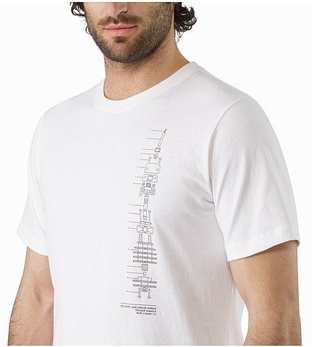 Schematic T-Shirt White Graphic Close Up