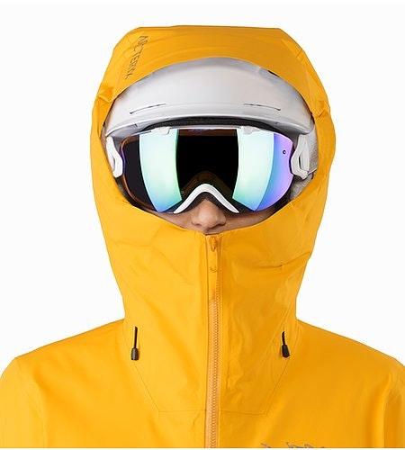 Shashka Jacket Women's Aspen Glow Helmet Compatible Hood Front View
