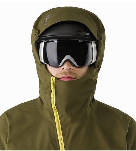 Sidewinder SV Jacket Dark Moss Helmet Compatible Hood Front View