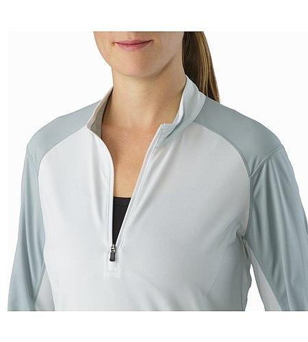 Skeena Zip Neck LS Women's Ionic Sky Open Collar