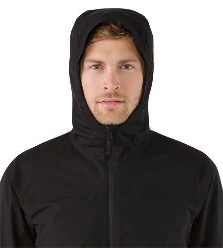 Solano Jacket Black Hood Front View
