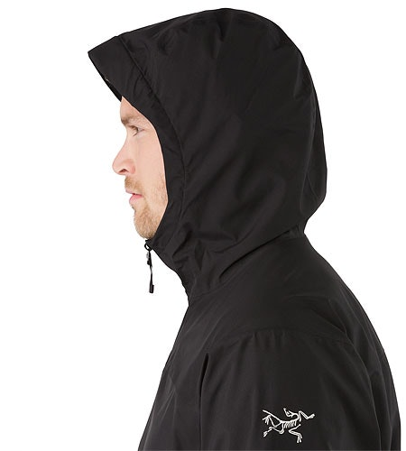 Solano Jacket Black Hood Side View