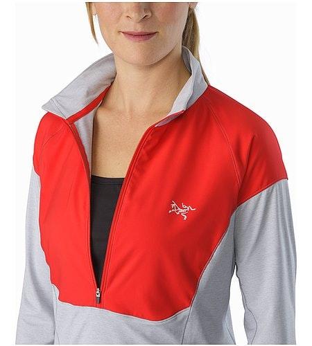 Taema Zip Neck Shirt LS Women's Rad Athena Grey Open Collar