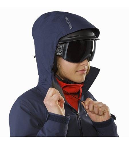 Tiya Jacket Women's Black Sapphire Helmet Compatible Hood
