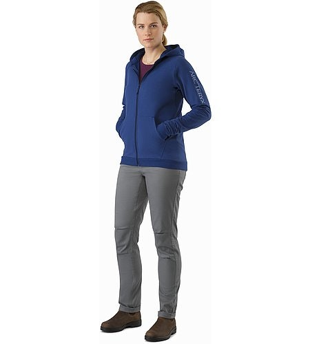 Word On End Full Zip Hoody Women's Mystic Heather Front View